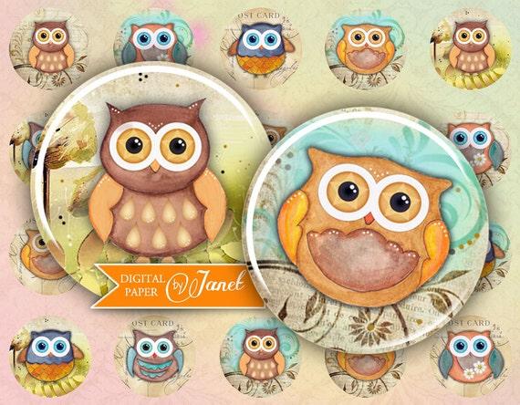 Owl - circles image - digital collage sheet - 1 x 1 inch - Printable Download