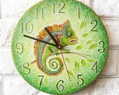 Made to Order The Green Chameleon Wall Clock OOAK Home Decor for Children Baby Kid Boy Girl Nursery Playroom