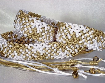 "Macrame Belt ""Breath of Spring"", womens belt, woven of satin cord"