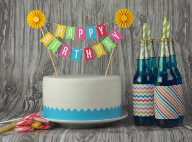 Custom Cake Bunting Happy Birthday With Rosette Etsy