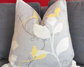 Pillow Cover, Decorative Pillow, Throw Pillow, Toss Pillow, Gray Foliage, Yellow Foliage, Home Furnishing, Home Decor