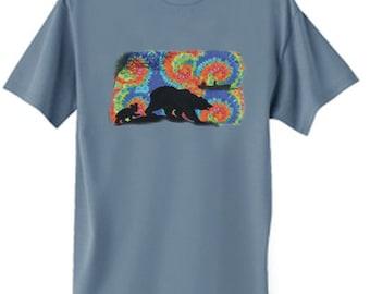 Mens T-shirt / Tie Dye Bear Design
