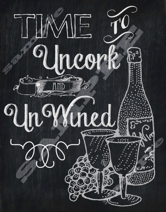 Chalkboard Style Wine Quote Art Printable Sign By