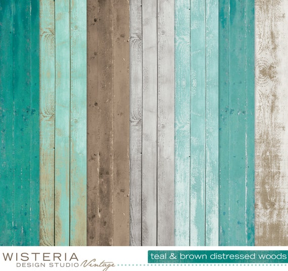 Distressed Wood Paper Pack Teal Brown Gray White By Wdsvintage