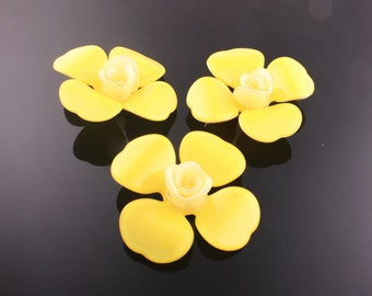 6pcs-45mm Flower Celluloid Cabochon For Accessory,jewely,Art deco and more-Yellow(C559Y)