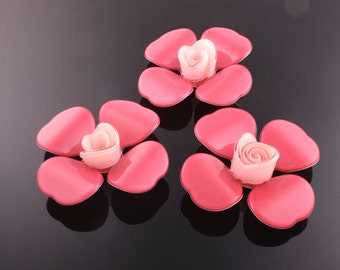 6pcs-45mm Flower Celluloid Cabochon For Accessory,jewely,Art deco and more-Indipink(C559I)