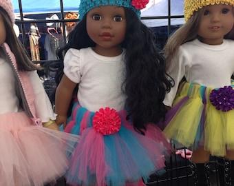American Girl Doll Tutu Hot Pink and Turquoise Tutu