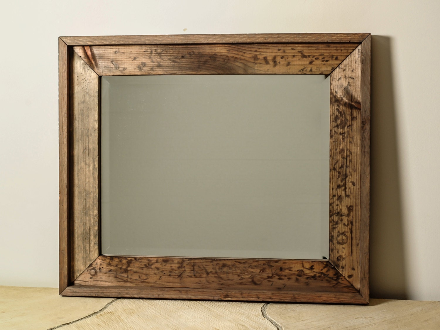 Large distressed wood mirror by englertandenglert on etsy for Wood framed mirrors