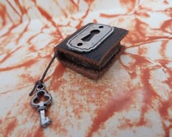 Silver Key Hole Book / Journal - Dollhouse Miniatures (Item B17)