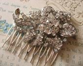 Vintage little rose bud Swarovski rhinestones crystals wedding bridal hair comb