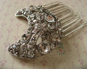 Night romantic moon rhinestones crystals wedding bridal hair comb