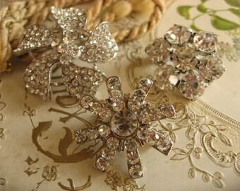 Little sparkle flowers Swarovski rhinestone crystals wedding bridal bridesmaids flower girls brooch pin, rhinestones brooch, vintage jewelry