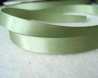 9mm Soft Moss Green Double Sided Satin Ribbon 10 Metres Moss Green Ribbon R22