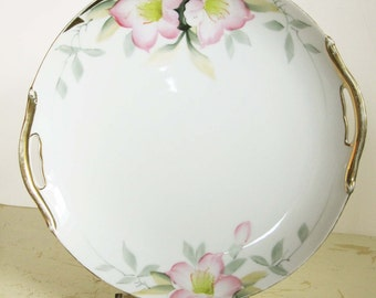 """Noritake Azalea Pattern Hand-Painted 9"""" Cake Plate With Exquisite Pink Azaleas - Lovely and Collectible Serving Platter"""