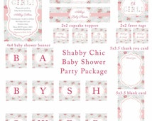 PRINTABLE Oh Girl Shabby Chic Cottage Vintage Roses Pink and Blue Baby Shower Party Package Set