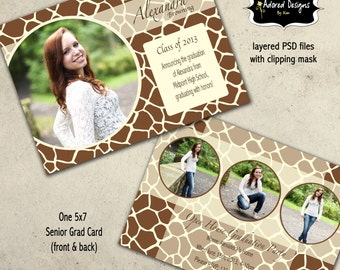 Graduation Announcement Photoshop Template  - Instant Download 5x7 PSD Files - Animal Print card 3