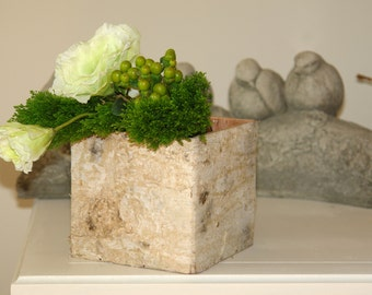 birch bark wood vases, square weddings, flowers, pot, planter, centerpieces wood boxes woodwork, rustic, chic wedding