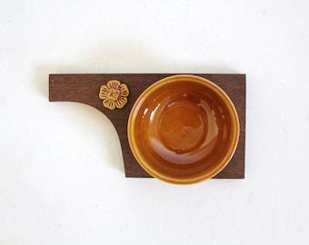 Vintage Butter Dish Wood Base Knife Holder Kitchen Decor Sado Portugal Portuguese Pottery