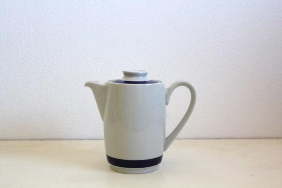 SALE 50 OFF Vintage Tea Pot Navy White Portuguese Pottery Nautical Decor Retro Minimalist