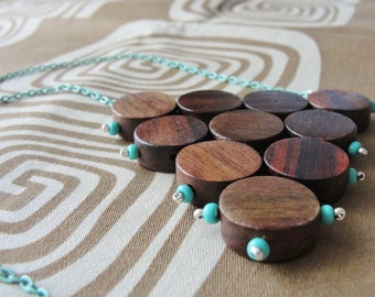 Sonokeling Wood Dots Triangle Pendant Necklace Silver and Mint Green Seed Beads & Chain Beaded Boho Rustic Style