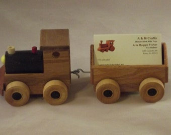 Toy Train wooden 2 pc trailing a business card  car. Perfect for dads in office