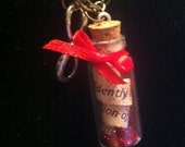 Bottle Charm Necklace - Red Glitter with Message Inside