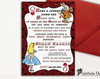 Red Deck Card Alice in wonderland Invitation  (Design Fee)