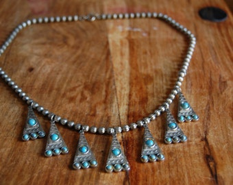 Vintage Native American Inspired Tribal Necklace with Faux Turquoise