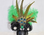 Custom Statement Gatsby Green Ostrich Peacock Feather Fashion Headpiece OOAK
