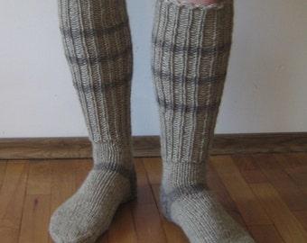 Knitted wool knee Socks Men's size // Wool socks men