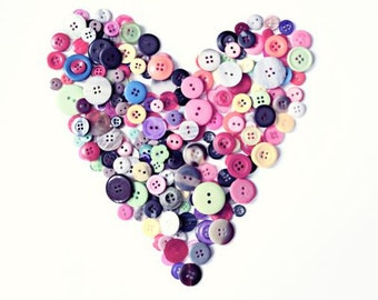 Button Heart Photography Fine Art Print Valentines Day Decor I Love Buttons Colorful Print Gift for Seamstress