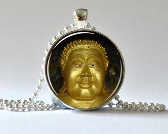 Happy Buddha Pendant. Meditation Pendant. Photo Pendant, Art Pendant, Glass Dome Pendant, Altered Art Pendant 009