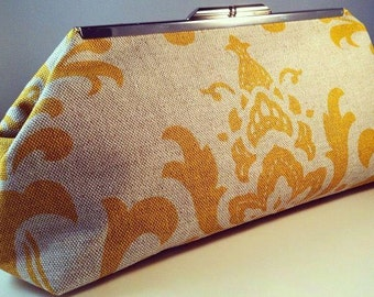 Yellow Damask Linen Clutch