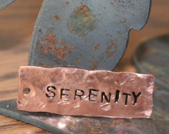 SERENITY recycled Copper Stamped Pendant Charm Tag Custom Hand Stamped Name Inspiration reycled copper