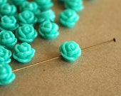 20 pc. Teal Glossy Rose Cabochons 9mm  with hole | RES-080