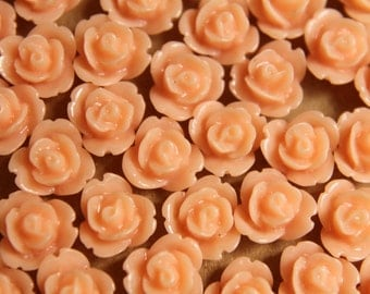 CLOSEOUT - 30 pc. Light Peach Glossy Polymer Clay Flower Cabochons 8mm | RES-265