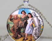 Seinfeld wizard of oz pendant necklace charm, Seinfeld movie necklace Round Glass Bezel Pendant  With Silver Ball Chain, Altered art pendant