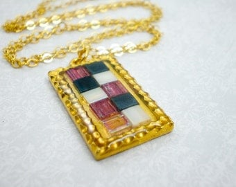 Gold Purple Gray Mosaic Pendant Necklace, Glass Tile Mosaic, Gold Charm Pendant Necklace, inv67