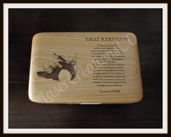 SMALL BOX, Eagle Scout - Court of Honor, Commemorative Box, Includes Name - Date, Scout Oath