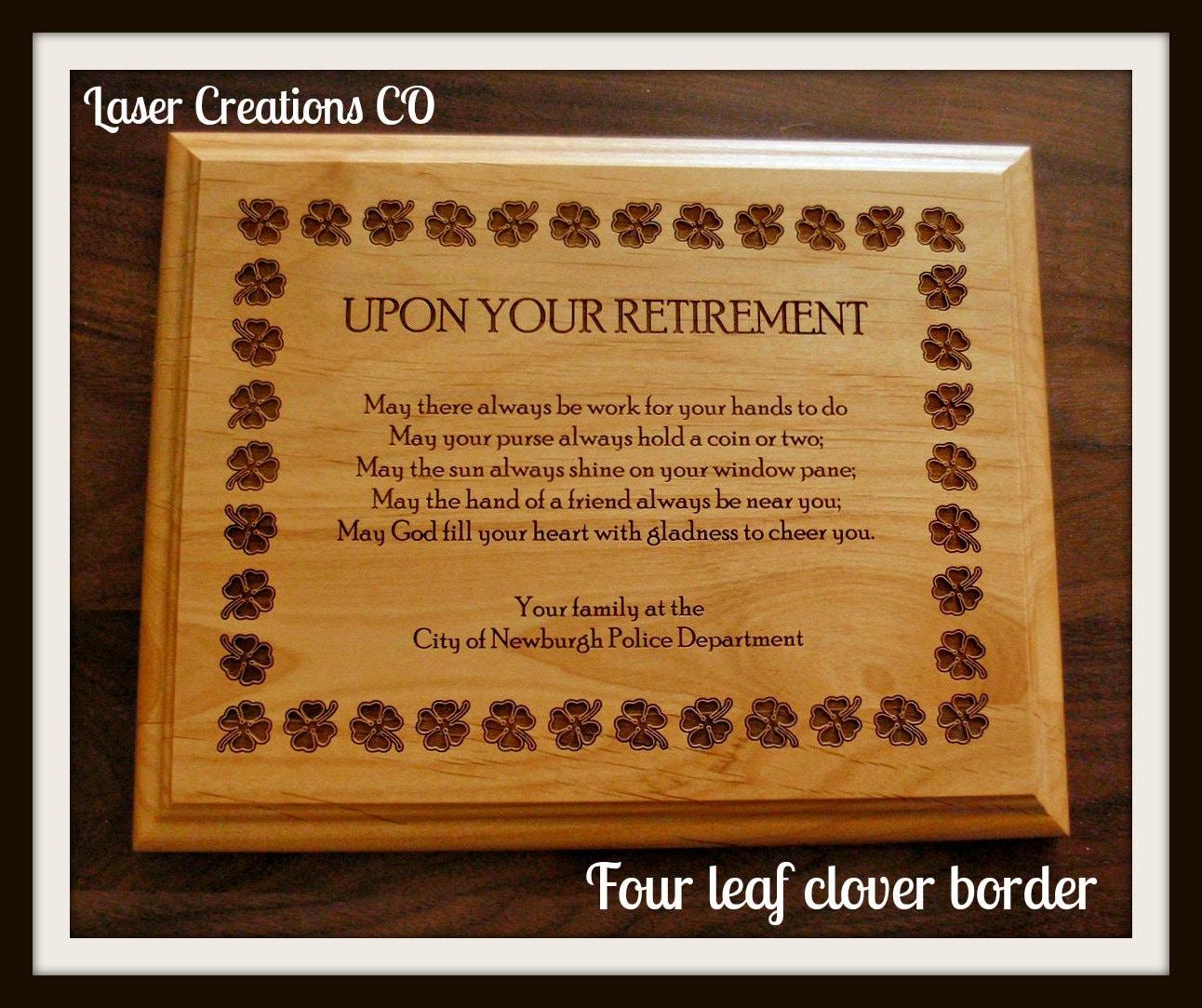 retirement plaque 8 x 10 4leaf clover border irish poem