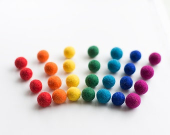 50 felt wool balls (1/2 in. size) rainbow mix red orange yellow green turquoise blue purple