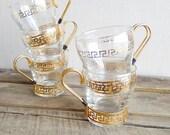 Vintage Gold Glasses Set of 5 - Greek Key Pattern - Libbey Glass