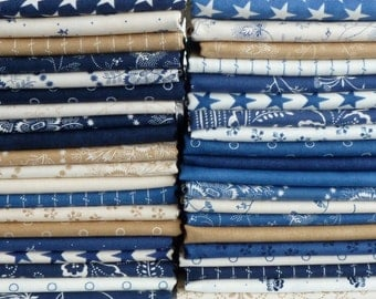 Minick & Simpson for Moda Fabrics Indigo Crossing 33 Piece Fat Quarter Yard Bundle