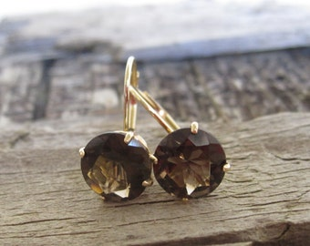 Smoky Topaz Leverback Earrings in 14K Gold