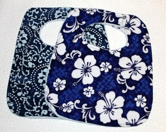 Baby/Toddler Bib Set of Two - Cotton and Terry Cloth  - Blue - Girls
