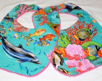 Baby/Toddler Bib Set of Two - Ocean Print - Cotton and Terry Cloth  - Girl