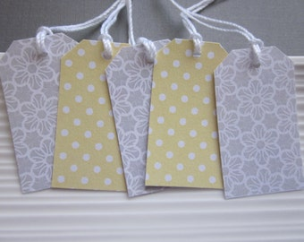 Yellow and Gray wedding / favor / gift tags / set of 24