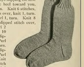 6 variations of vintage sock knitting patterns originally for men in war times 1917