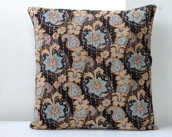 Kantha Pillow Floral Print in Dark Brown with blue floral print 16 x 16inches  kantha cushion covers