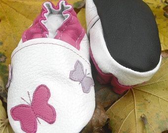 soft sole baby shoes handmade infant gift butterfly white 18 24 bebes fille cuir souple chaussons Krabbelschuhe porter ebooba BF-33-W-M-4